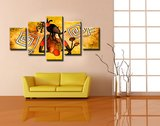 Canvasdoek 5-Delig Abstract H 160x80 cm_