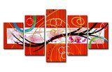 Canvasdoek 5-Delig Abstract O 160x80 cm_