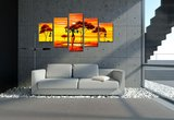 Canvasdoek 5-Delig Abstract T Afrika 160x80 cm_