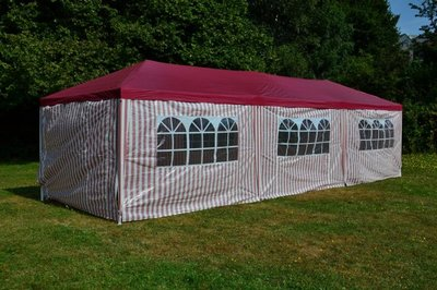 Partytent Rood Wit 3x9 M