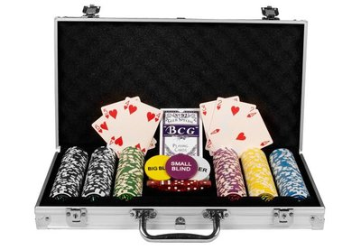 Luxe Casino Pokerkoffer Zilver Pokerset 300 Chips