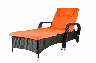 Design Loungebed Zwart Oranje