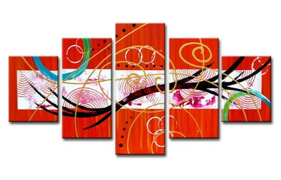 Canvasdoek 5-Delig Abstract O 160x80 cm