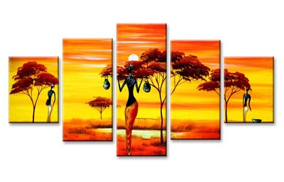 Canvasdoek 5-Delig Abstract T Afrika 160x80 cm